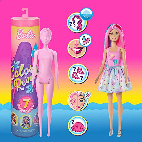 🥇 Barbie Color Reveal Doll with 7 Surprises: Water Reveals Doll's Look & Creates Color Change on Face & Sculpted Hair; 4 Mystery Bags Contain Surprise Wig