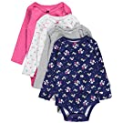 Carter's Baby Girls' 4 Pack Print Bodysuits, Multicolor, 18M