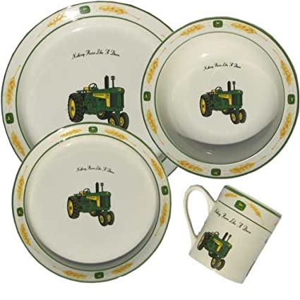 John Deere 16 Piece Dinnerware Set (Amber Waves)  sc 1 st  Amazon.com : john deere dinnerware - pezcame.com