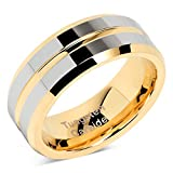 Tungsten Rings for Mens Wedding Bands Gold Silver Two Tone Grooved Center Line Size 8-15 (13)