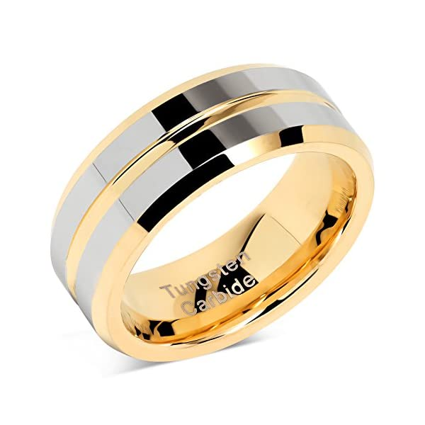 100S JEWELRY Tungsten Rings for Mens Wedding Bands Gold Silver Two Tone Grooved Center Line Size 8-16 - 51AM4YlkLwL - 100S JEWELRY Tungsten Rings for Mens Wedding Bands Gold Silver Two Tone Grooved Center Line Size 8-16