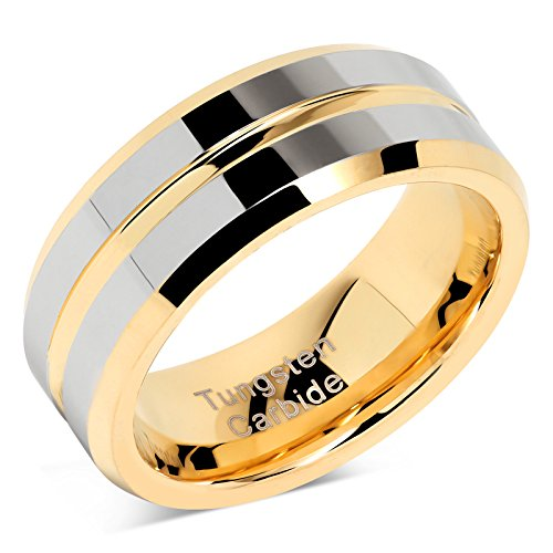 - 100S JEWELRY Tungsten Rings for Mens Wedding Bands Gold Silver Two Tone Grooved Center Line Size 8-16 (12)