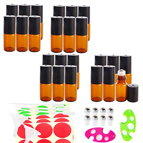 GreatforU 24pack 3ml Amber Empty Glass Roll-on Bottles, Refillable Cosmetic Containers Roller Bottle for Makeup Essential Oil Perfume, 0.5ml Dropper, Mini Funnel, Opener, Extra 8 Metal Balls, 36 Label