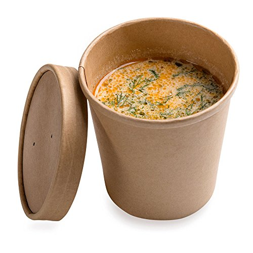 200-CT Disposable 16-OZ Bio Soup Container - Large Kraft Soup Cups: Perfect for Cafes - Eco-Friendly Recyclable Paper Cup - Wholesale Takeout Food Container - Lid Available - Restaurantware