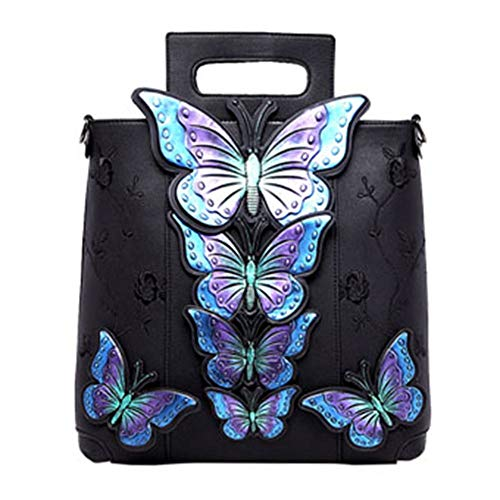 Bamboo Bag Handbag, Embroidered Butterfly Diagonal Chinese Style Hand Painted Embroidered Bag (Color : Black)