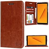 DMG Premium Leather Wallet Flip Cover Stand Case for Samsung Galaxy A8 Plus (Latchless ID Brown)