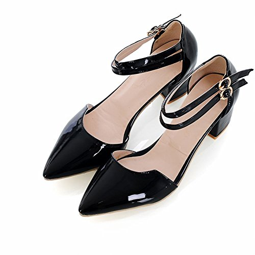 Carolbar Elegance Womens Chic Charms Buckles Ankle Strap Pointed Toe Chunky Mid Heel Sandals Black Ct8dkpM