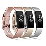 [3 Pack] Soft TPU Bands Compatible with Fitbit Inspire HR/Fitbit Inspire/Fitbit Ace 2 Wristbands Sports Waterproof Wristbands for Fitbit Inspire HR Fitness Tracker (01 Rose Gold/Gold/Silver, Large)