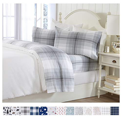 Extra Soft Plaid 100% Turkish Cotton Flannel Sheet Set. Warm, Cozy, Lightweight, Luxury Winter Bed Sheets. Belle Collection (Full, Grey) (Sale Sheets Flannel)