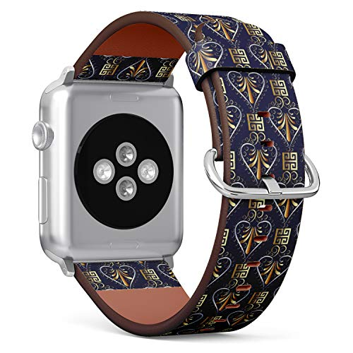 Compatible with Apple Watch (Small Version) 38 / 40mm Leather Wristband Bracelet with Stainless Steel Clasp and Adapters - Floral Greek Key Meander