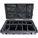 Pelican Black 1510 with black padded dividers and Pelican 1519 lid organizer + Free TSA Lock