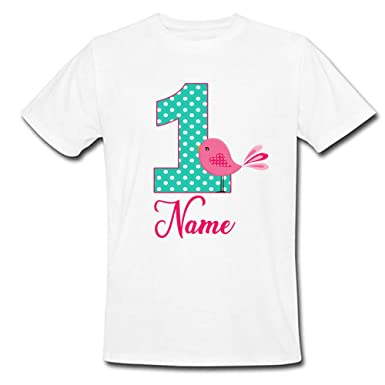 62c0d1af Sprinklecart Customized and Personalized Name Printed First Birthday Wear |  Cute Bird Birthday T Shirt (