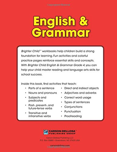 English & Grammar Workbook, Grade 4 (Brighter Child: Grades 4 ...