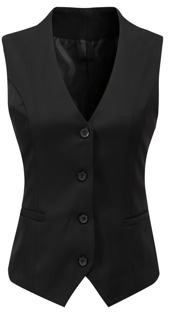 Foucome Women's Formal Regular Fitted Business Dress Suits Button Down Vest Waistcoat Black US XL - Tag 6XL