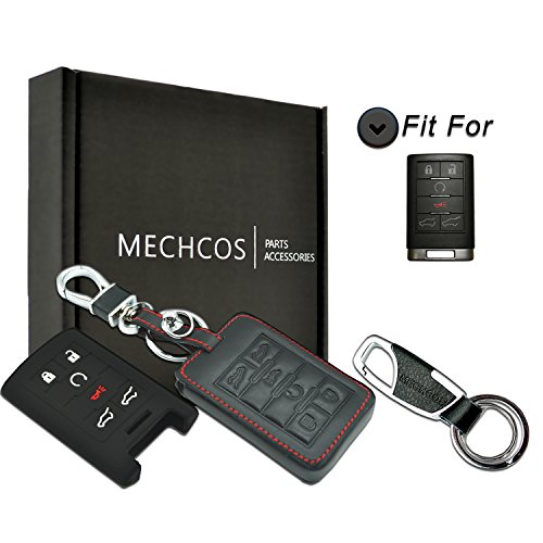 MECHCOS Compatible with fit for Cadillac Escalade Escalade ESV Escalade EXT 22756466 OUC6000066 850K-6000066 6-Buttons Leather Keyless Entry Remote Control Smart Key Fob Cover Case Protector Shell