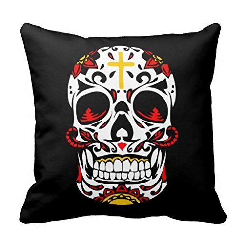 Mexican Sugar Skull Christian Cross On Forehead Throw Pillow - Forehead Square