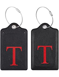 Initial Luggage Tag with Full Privacy Cover and Stainless Steel Loop (T)