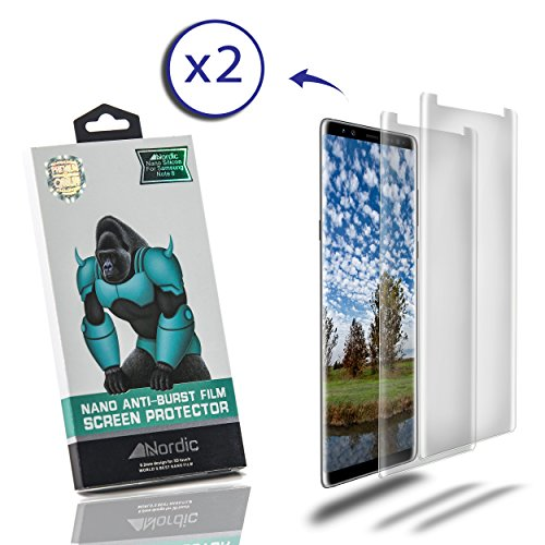 (Nordic 2 Pack Nano Anti-Burst Protective Clear Film Screen Protector for Android Samsung Note 8 Smartphone: PH Hardness, TPU Silicon, No-Scratch, and Shock-Proof, Bubble-Free Within 24 Hours)