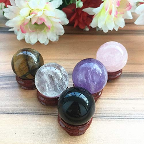 (1 Piece 30mm Natural Amethyst/Pink/White/Black Obsidian/Tigers Eye Crystal Sphere Ball Healing Stone Home Decor Wealth - White Quartz Crystal)