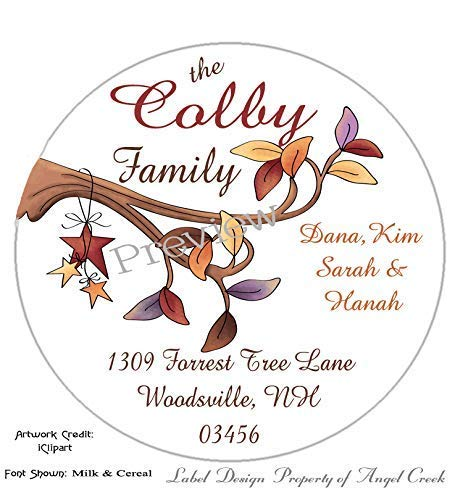 Customized Personalized Round Address Labels - Autumn Stars Leaf Branch Choice of 4 Sizes ()