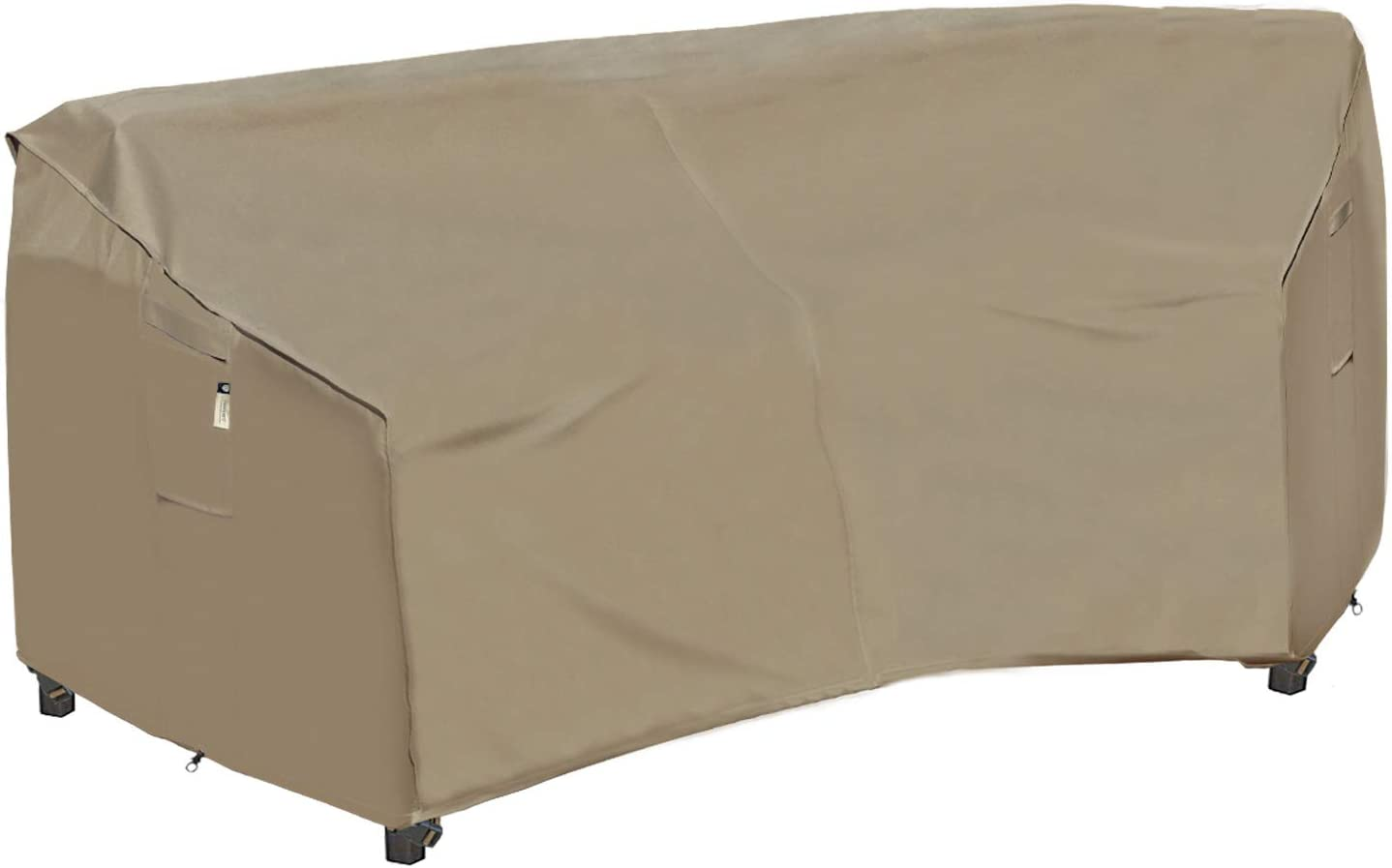 Heavy Duty Outdoor Sectional Couch Covers, 100% Waterproof Reinforced 600D Patio Sectional Sofa Cover, Curved Lawn Patio Furniture Cover