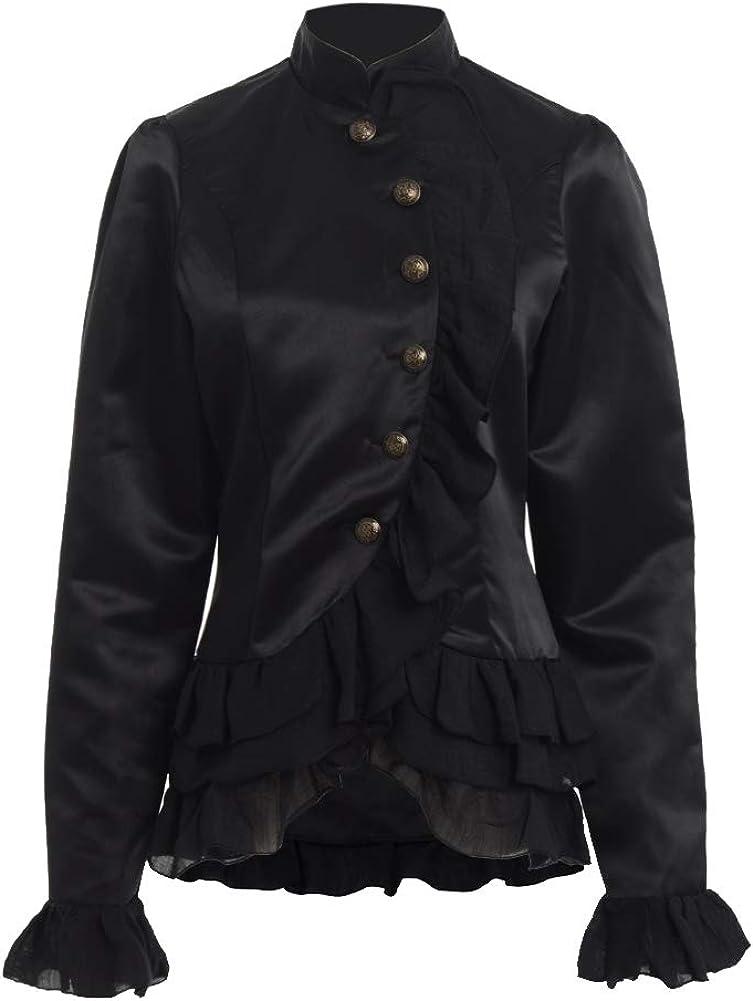 GRACEART Women's Victorian Corset Blazer Jacket Dark Black