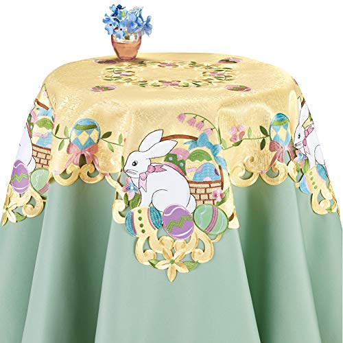 Collections Etc Adorable Easter Embroidered Table Linens with Bunny and Baskets Filled with Colorful Eggs, Yellow, Square