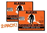 Alaska-SASQUATCH HUNTING PERMIT LICENSE TAG DECAL TRUCK POLARIS RZR JEEP WRANGLER STICKER 2-PACK!-AK