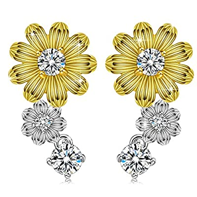 PN PRINCESS NINA 925 Sterling Silver ??Spring Blossom?? AAA Cubic Zirconia Sunflower Stud Earrings, (with Beautiful Gift Box)