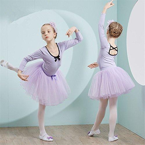 dance clothing Children Dance Costumes Spring and autumn season children's dance dress long sleeved girl dresses and ballet dresses,Violet,150cm by SJMMWD