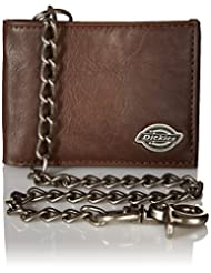 Dickies Men\'s Leather Slimfold Wallet With Chain,Brown,One S...