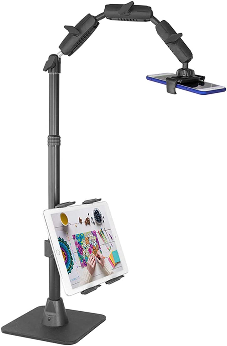 TRACKINGFORLESS 3-in-1 Phone and Tablet Adjustable Stand for Live Streaming Video Equipment/Photography, Compatible with iPhone, iPad Pro, Galaxy Note, Galaxy Tab, and More