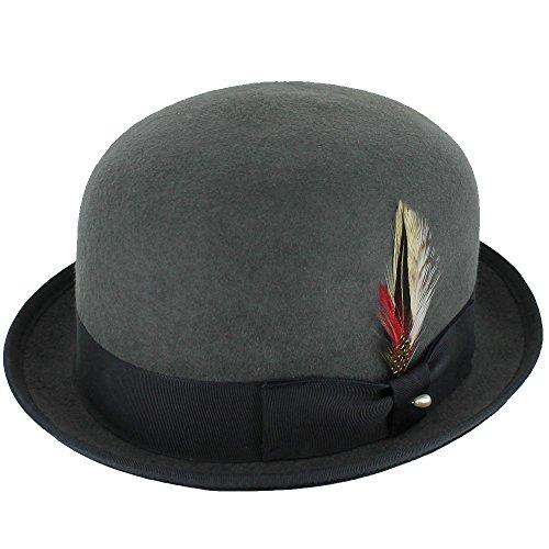 [Belfry Deuce 100% Wool Felt Stingy Brim Men's Derby Bowler Hat in 4 Sizes and 2 Colors(M, Grey)] (Hats 4 U)