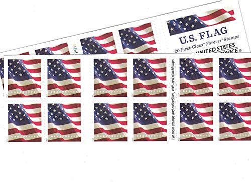 (USPS US Flag Forever Stamps - 40 Stamps (Two Books of 20) Packaging May Vary, Blue/Red/White)