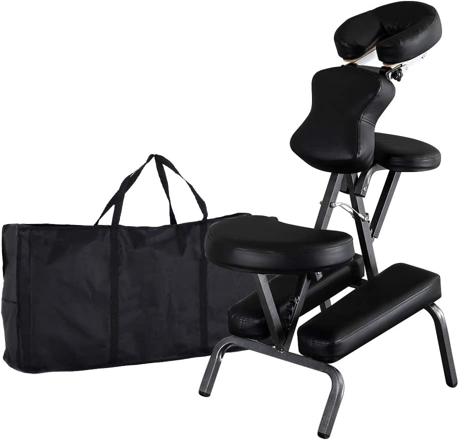 Mefeir Portable Massage Tattoo Chair w/ Carrying Bag, Folding Salon Spa Home Therapy Chair w/ Adjustable Face Cradle, Black: Kitchen & Dining
