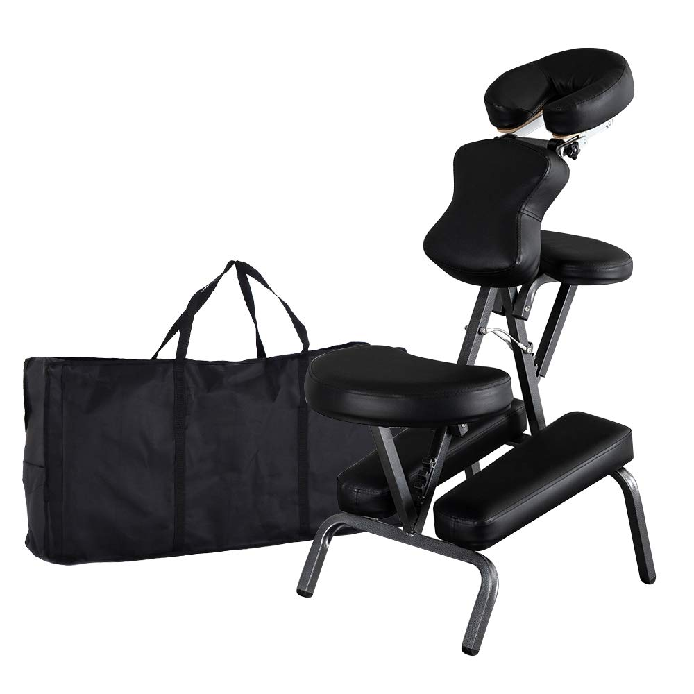 Mefeir Portable Massage Tattoo Chair w/ Carrying Bag, Folding Salon Spa Home Therapy Chair w/ Adjustable Face Cradle, Black