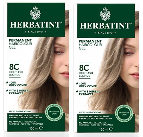 Herbatint 8C Light Ash Blonde Permanent Haircolor (Pack of 2) Alcohol and Ammonia Free, 4.56fl oz Each by Herbatint