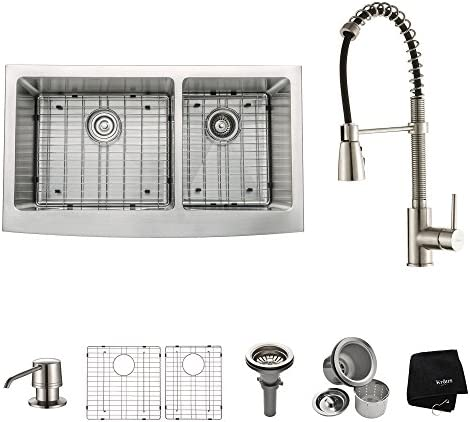 Kraus KHF203-36-KPF1612-KSD30SS 36 Farmhouse Double Bowl Stainless Steel Kitchen Sink with Stainless Steel Finish Kitchen Faucet and Soap Dispenser