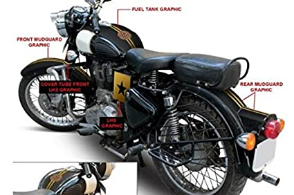 Customized Royal Enfiled Motorcycle Fuel Tank & Mudguard Graphic