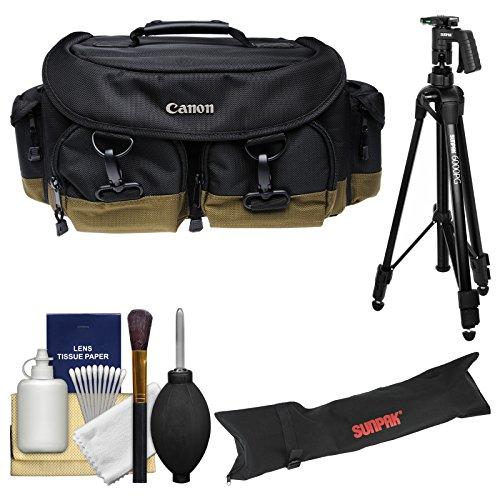 Canon 1EG Professional Digital SLR Camera Case Gadget Bag with Tripod Kit for EOS 6D, 70D, 7D, 5DS, 5D Mark II III, Rebel T5, T5i, T6i, T6s, SL1