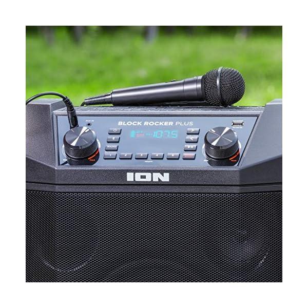 ION Audio - Block Rocker Plus - Enceinte Bluetooth Portable 100 W, Batterie, Radio AM / FM, Entrée AUX, Roulettes et Poignée Télescopique, Microphone, Câble et Port USB pour Smartphones et Tablettes 4