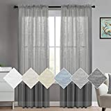 Turquoize Linen Curtain Panel Pair Extra Long Curtains 108 Inches for Living Room Curtains Rod Pocket Curtains for Bedroomm Window Grey Sheers Soft Natural Linen Blended Window Treatments 2 Panel