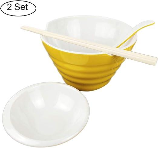 OTENGD Juego de 2 tazones de plástico Ramen de 44 oz, 8 Piezas Juego de tazones