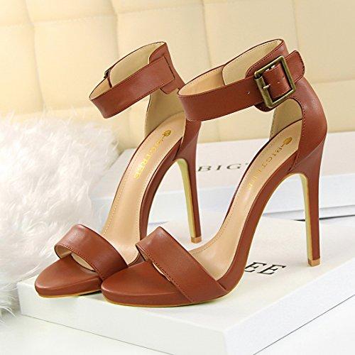 Pump Sandalo Yiblbox Sexy Marrone Tacco Toe Ankle Strap Stilleto Womens Formale Vestito Open Alto Shoes pq1pS8w