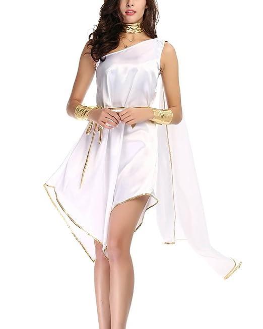 Disfraz De Diosa Griega Atena Vestidos para Mujer Cosplay Romana Reina Diosa Halloween Carnaval Blanco Un Tamaño: Amazon.es: Ropa y accesorios