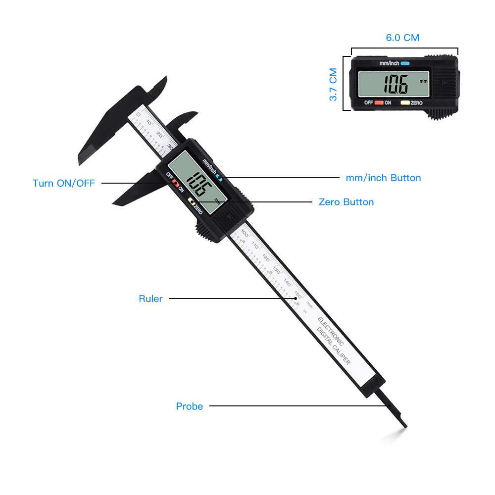 LONENESSL Digital Caliper, Electronic Digital Caliper, 6 Inch with LCD Screen, Durable Accurate Vernier Caliper Tool,Inch/Fractions/Millimeter Conversion