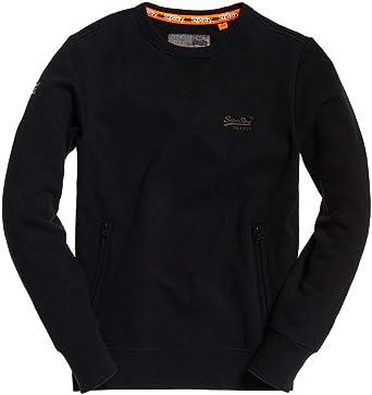 Superdry Homme Sweat Shirt Urbain Orange Label, Noir: Amazon