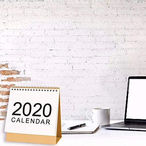 Cassiela Desktop-Kalender Schreibtisch Kalender, Zeitraum: 2019 Monat - Dezember 2020, Doppelring-Metallring-Design, 360 ° -Seite In DREI Größen