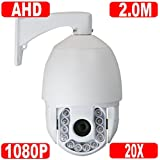 GW Security 1080P (1920×1080) HD-AHD High Speed Dome PTZ Camera 2.0 Megapixel Sony Cmos H.264 20X Optical Zoom Waterproof Outdoor IR Night Vision (Only Compatible with HD-AHD DVR)