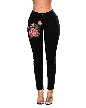 Mujer Pantalones Vaquero Skinny Push Up Pantalones Elástico Jeans Bordados Vaqueros